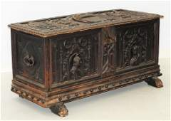 19C. Italian Renaissance Carved Wood Blanket Chest