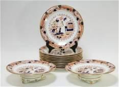 German Porcelain Imari Decorated Plates & Tazzas