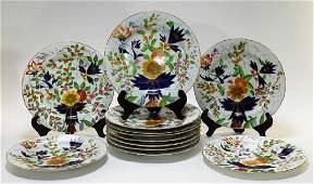 12 European Gaudy Welsh Sunflower Imari Plates