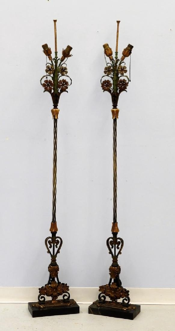 PR Attrib. Oscar Bach Wrought Iron Torchiere Lamps