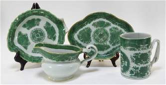 4 Chinese Green Fitzhugh Porcelain Table Articles