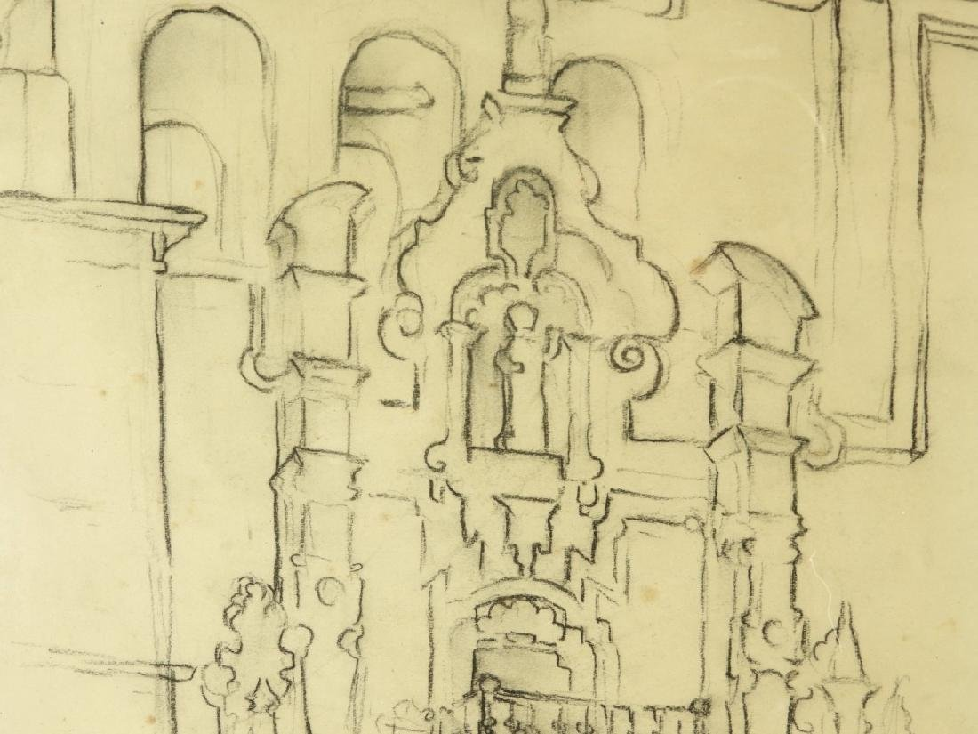 PR Gino Conti Abstract Church Pencil Drawings - 4