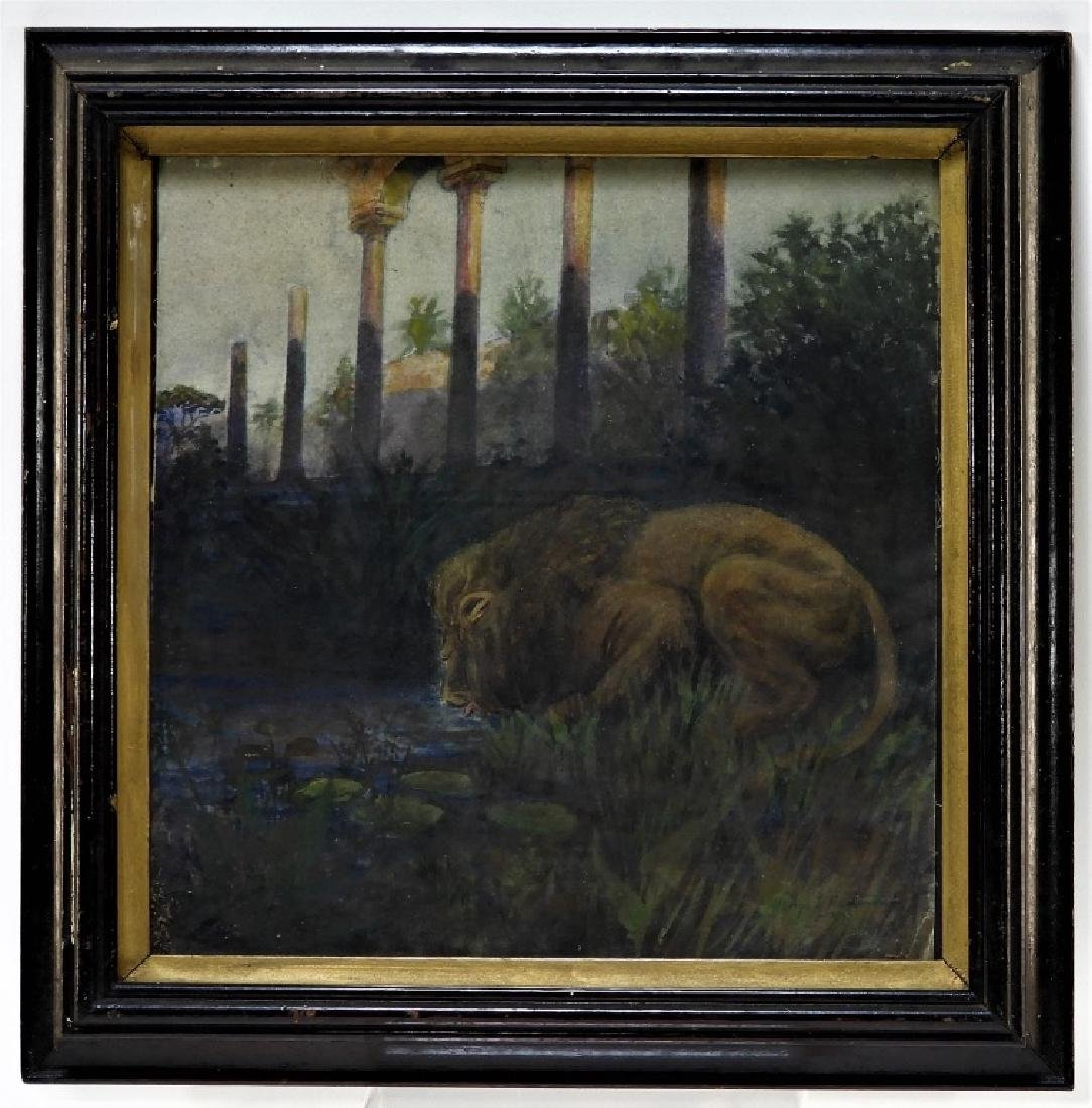 George Hammond American WC Lion Painting