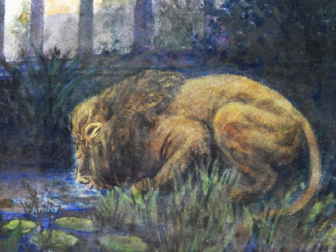 George Hammond American WC Lion Painting - 2