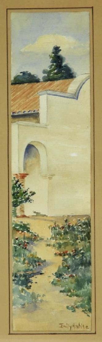 Emily H White Diminutive WC Landscape Painting