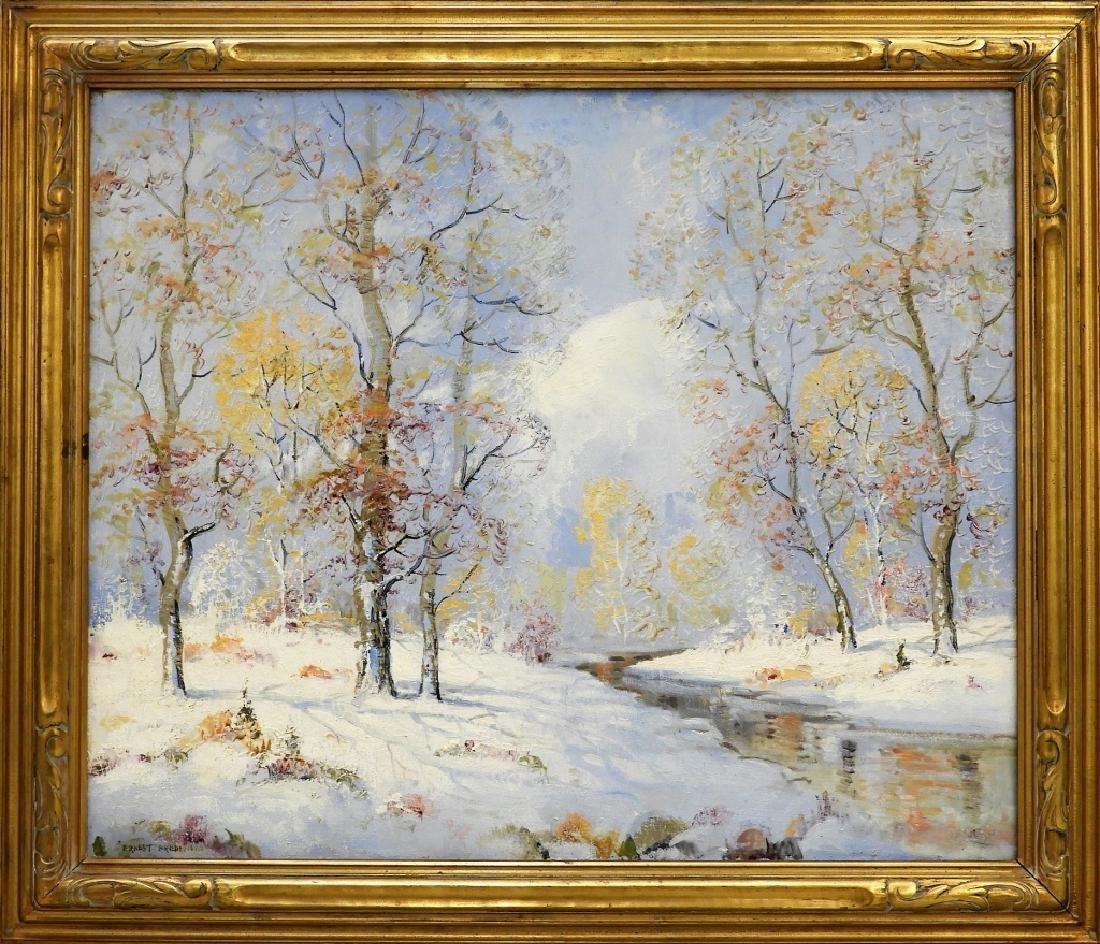 Ernest T. Fredericks O/C Winter Landscape Painting