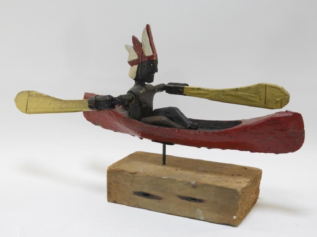 C.1920 American Indian in Canoe Folk Art Whirligig