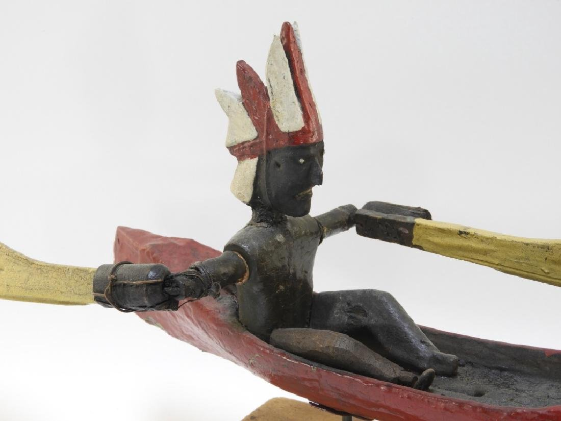 C.1920 American Indian in Canoe Folk Art Whirligig - 2