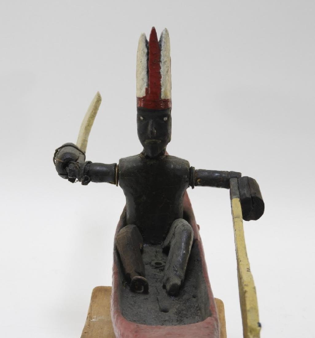 C.1920 American Indian in Canoe Folk Art Whirligig - 7