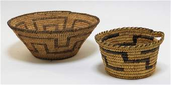 2 Native American South West Papago Indian Baskets
