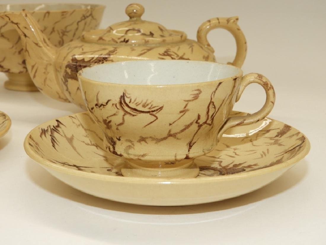 English Staffordshire Agateware Tea Service for 2 - 6