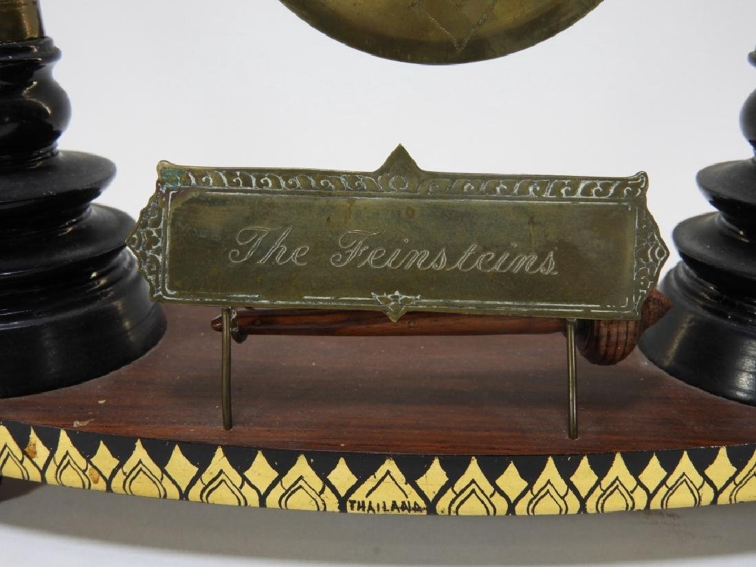Thai Lacquer Horn Carved Miniature Table Gong - 3