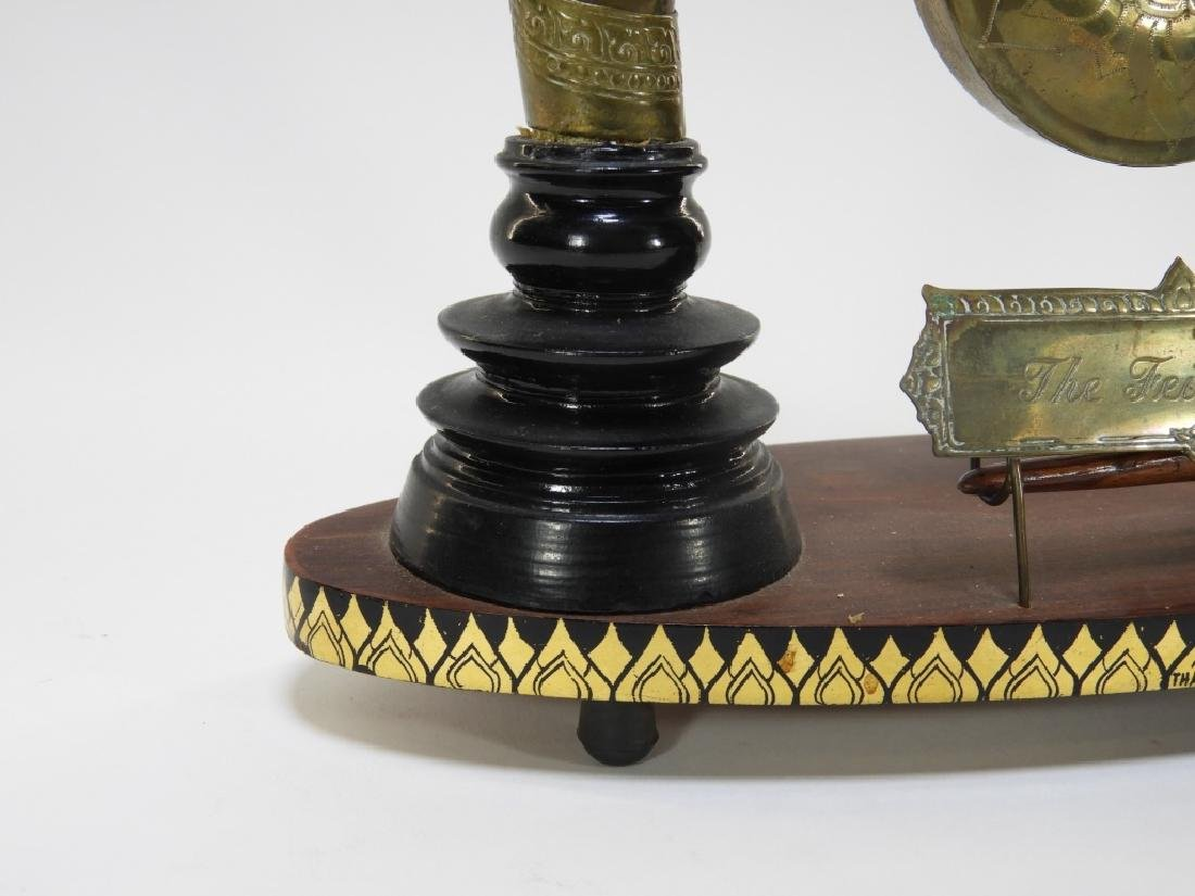 Thai Lacquer Horn Carved Miniature Table Gong - 4