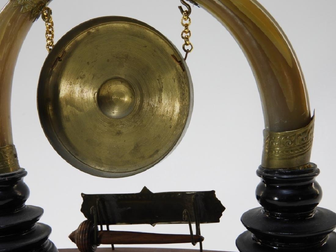 Thai Lacquer Horn Carved Miniature Table Gong - 6