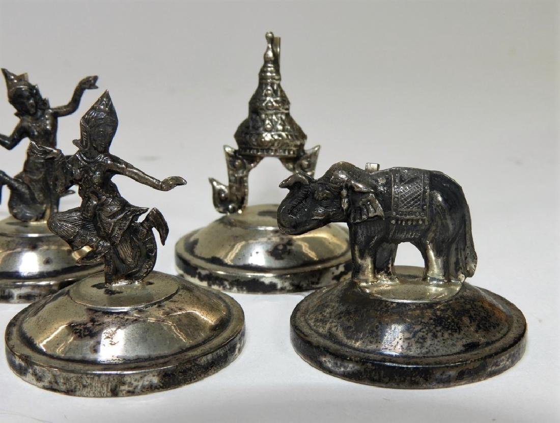 8 Siam Sterling Silver Deity Place Card Holders - 4