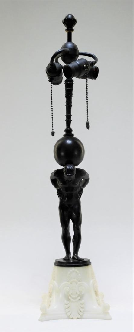 Edward Caldwell Bronze Marble Figural Atlas Lamp