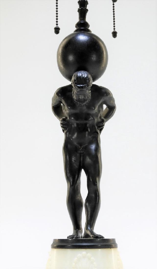Edward Caldwell Bronze Marble Figural Atlas Lamp - 2