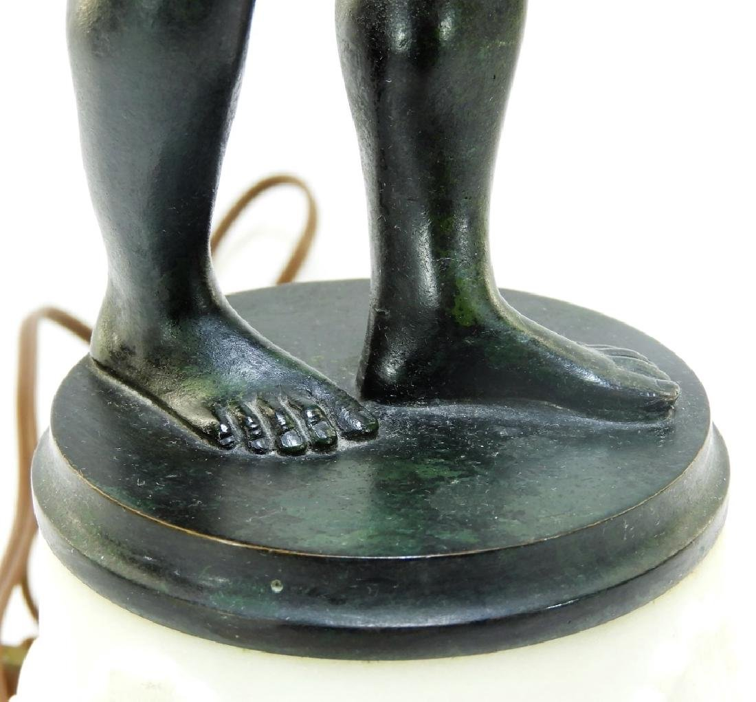 Edward Caldwell Bronze Marble Figural Atlas Lamp - 5