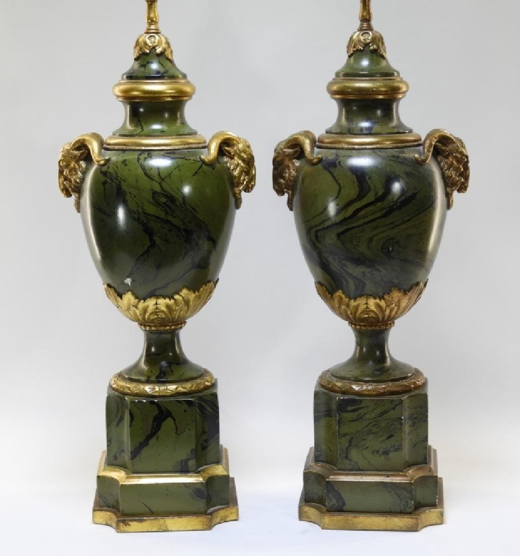 PR European Green Marbleized Plaster Lamps