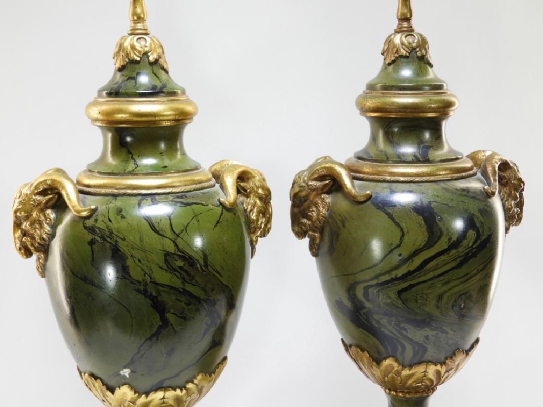 PR European Green Marbleized Plaster Lamps - 2