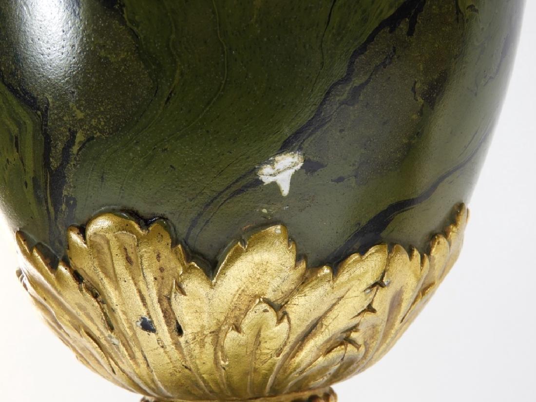 PR European Green Marbleized Plaster Lamps - 6