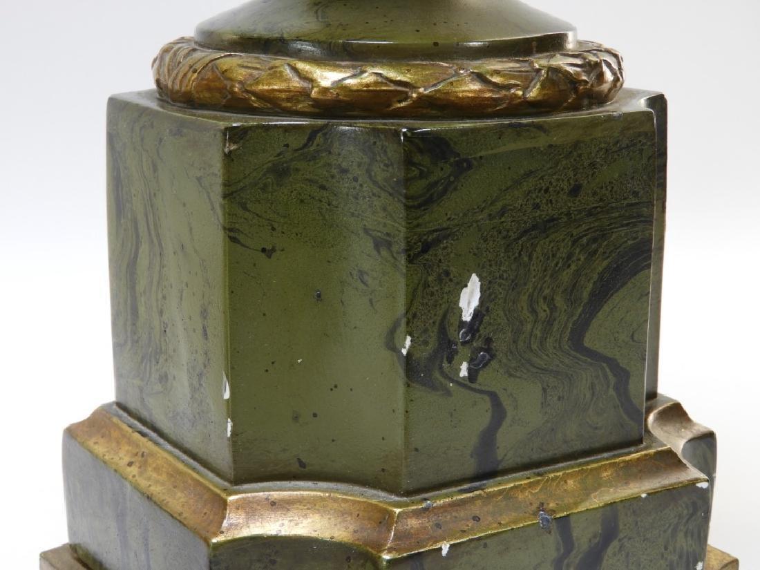 PR European Green Marbleized Plaster Lamps - 8