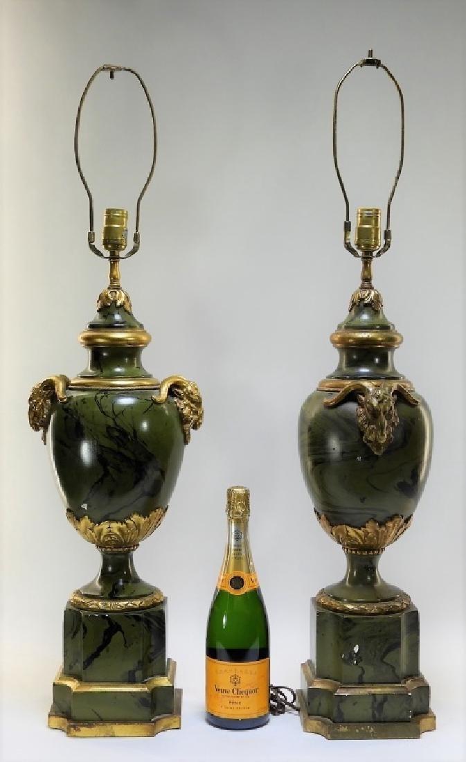 PR European Green Marbleized Plaster Lamps - 9