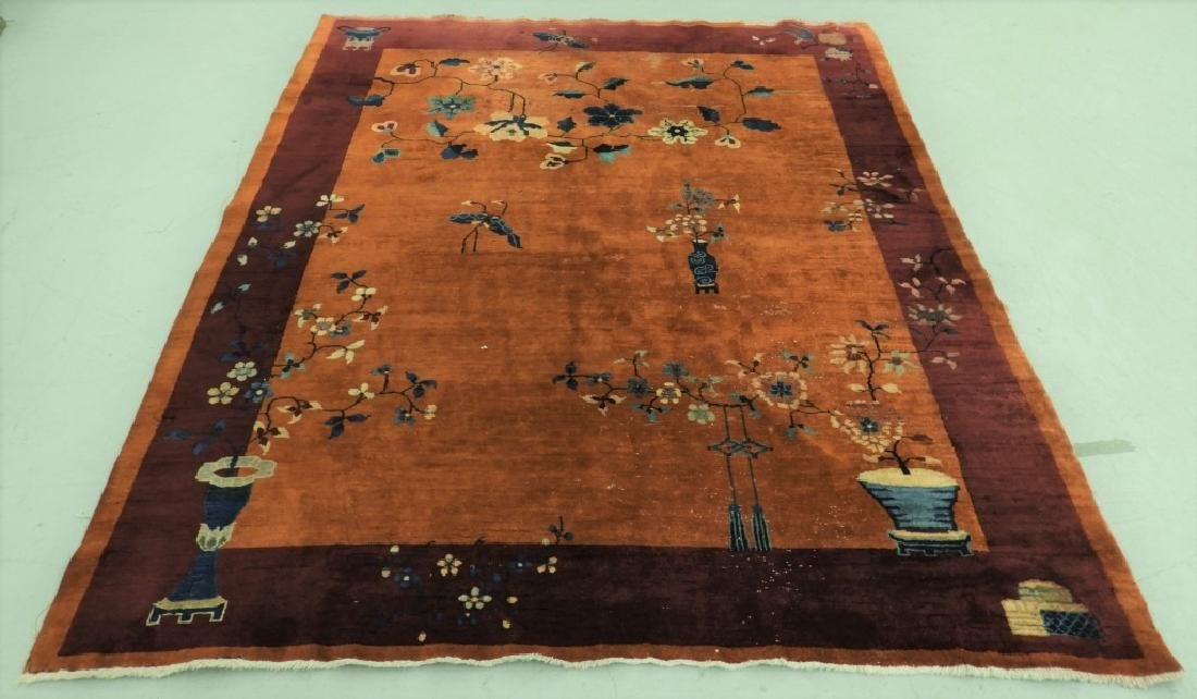 Chinese Art Deco Floral Pattern Carpet Rug