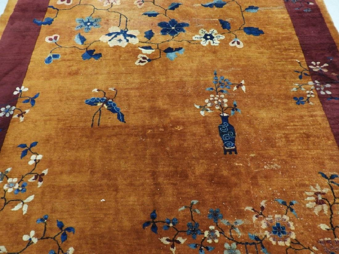 Chinese Art Deco Floral Pattern Carpet Rug - 2