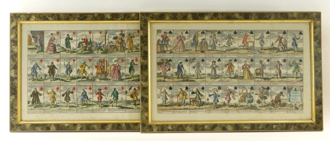 PR French Hand Colored Play Card Suits Etching