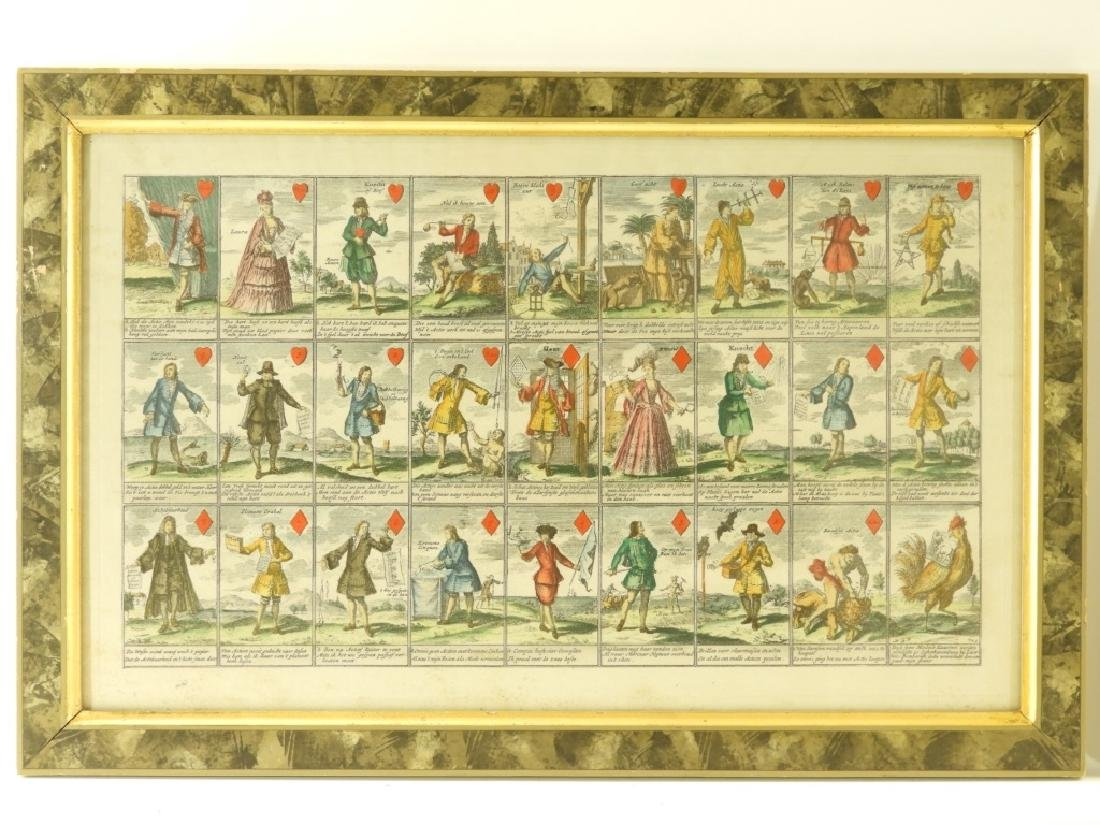 PR French Hand Colored Play Card Suits Etching - 2
