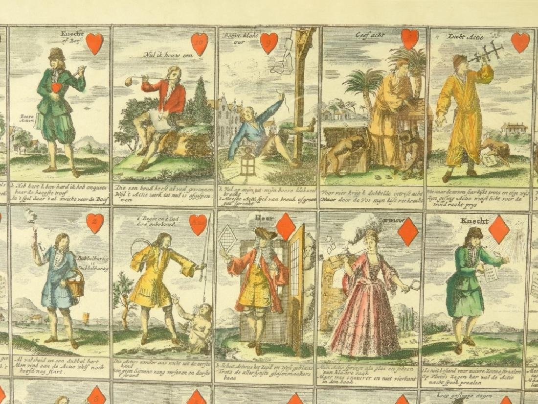 PR French Hand Colored Play Card Suits Etching - 3