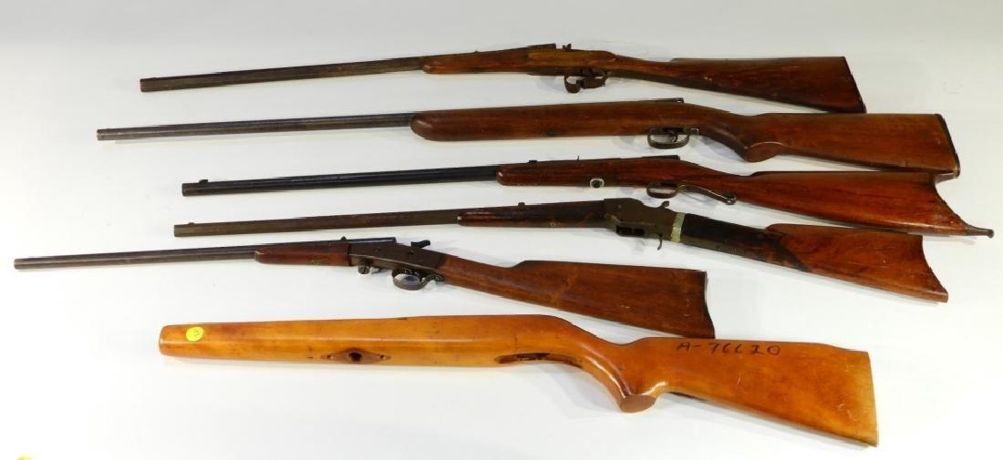 5 Antique 22 Caliber Rifles w/ Extra Stock