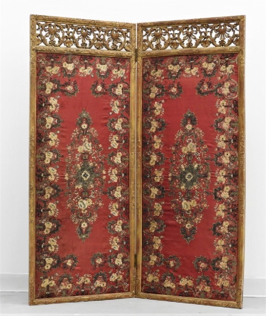 FINE 18C French Louis XVI Gilt Chinese Silk Screen