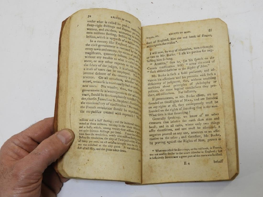C.1792 Thomas Paine Rights of Man Leather Book - 5