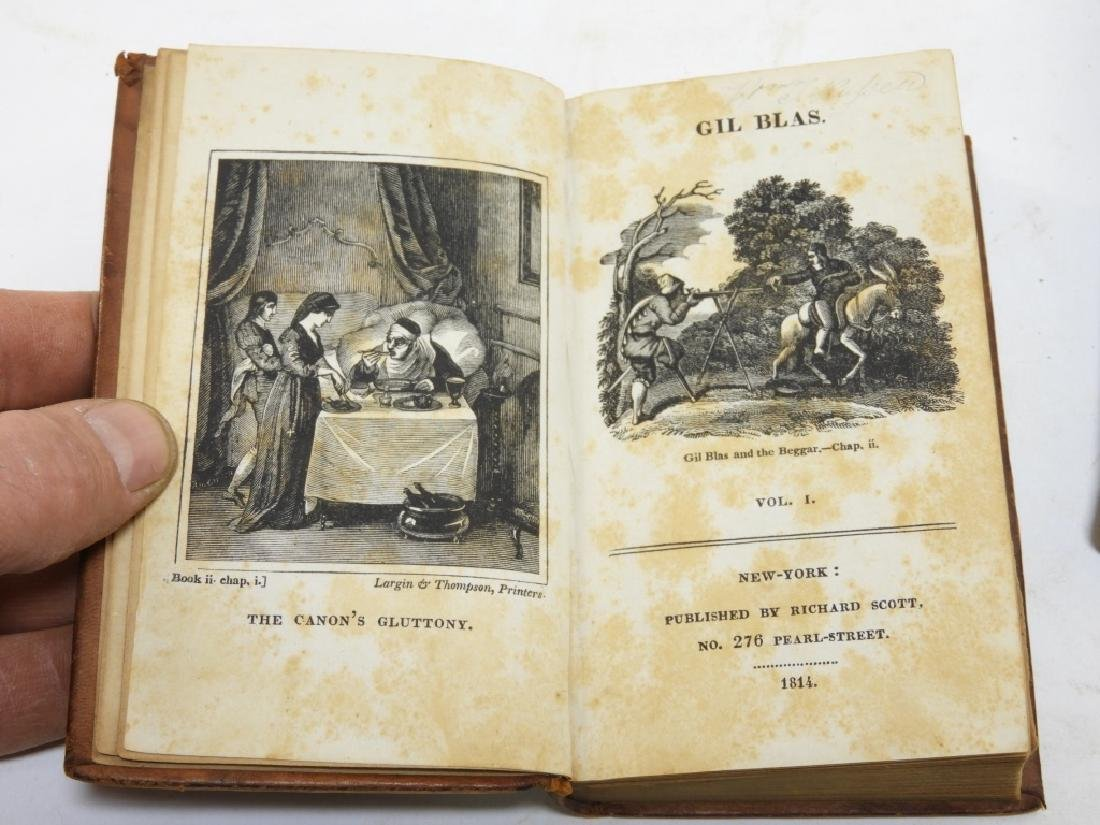 Group C.1814 Smollet Gil Blas Leather Bound Books - 2