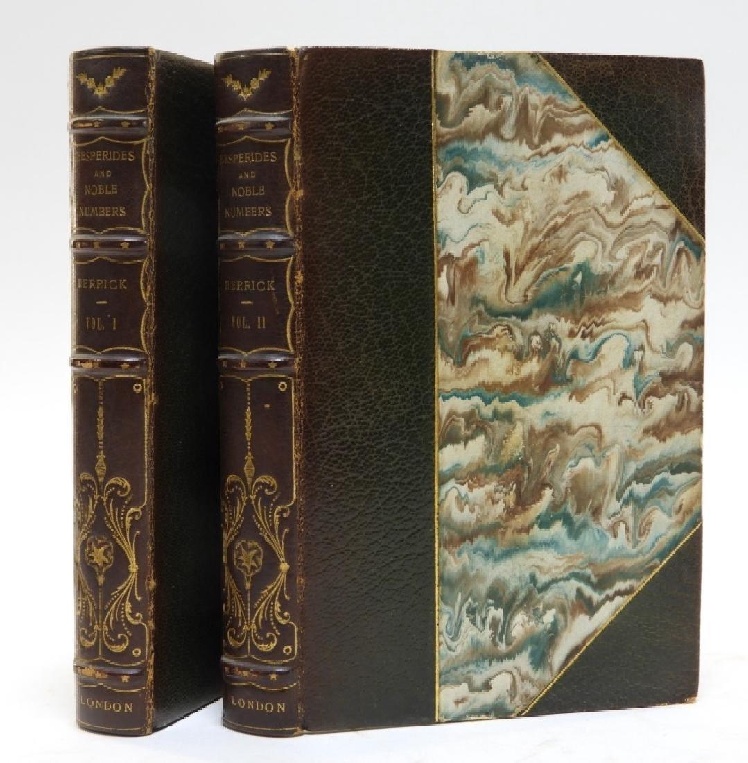 2 Volume Robert Herrick Hesperides Leather Books