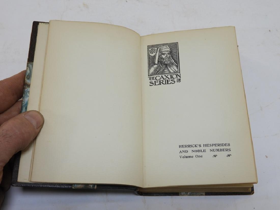 2 Volume Robert Herrick Hesperides Leather Books - 2