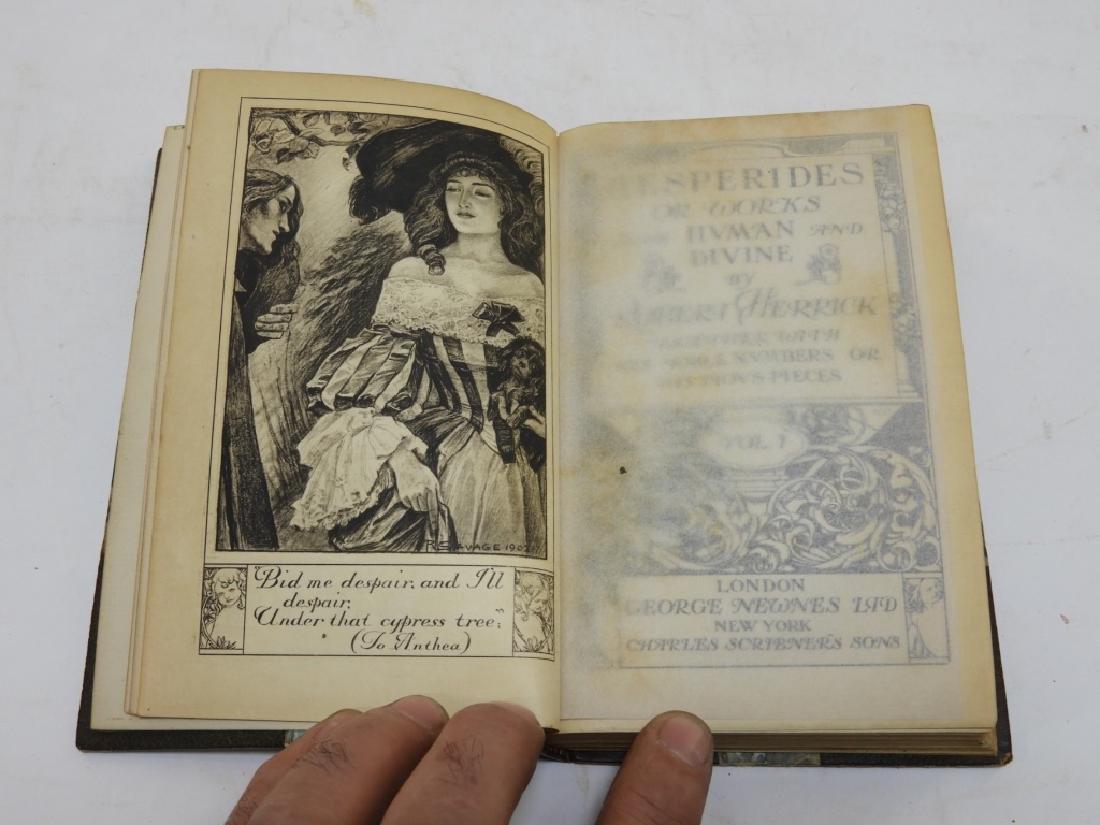 2 Volume Robert Herrick Hesperides Leather Books - 3