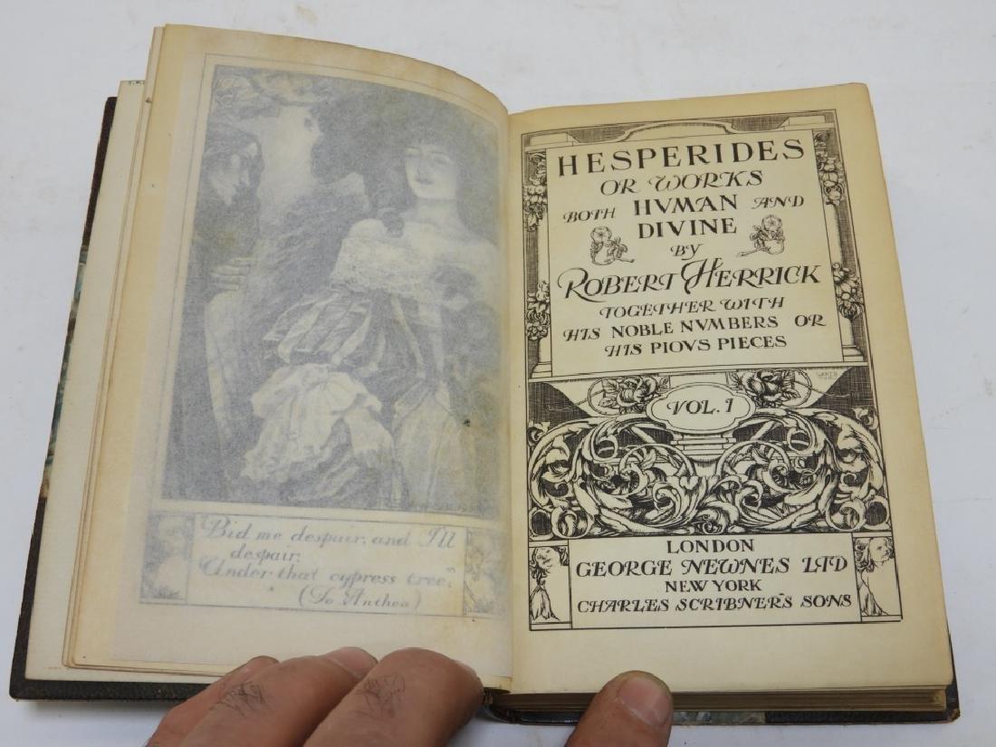 2 Volume Robert Herrick Hesperides Leather Books - 4