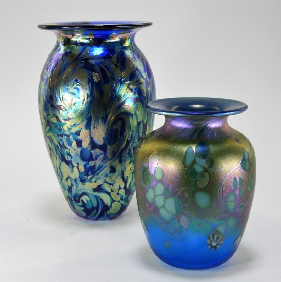 Eickholt Starry Night & Jim Bush Art Glass Vases