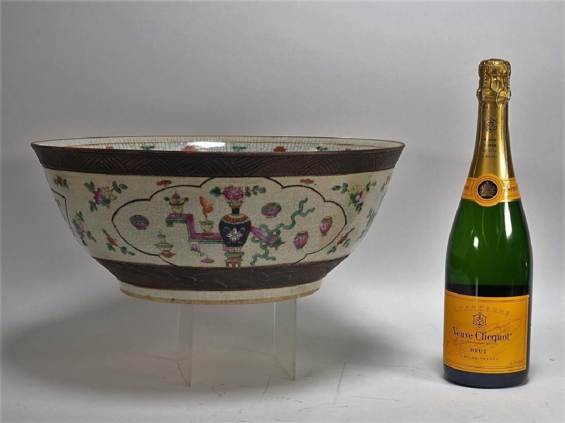 LG Chinese Porcelain Famille Rose Center Bowl