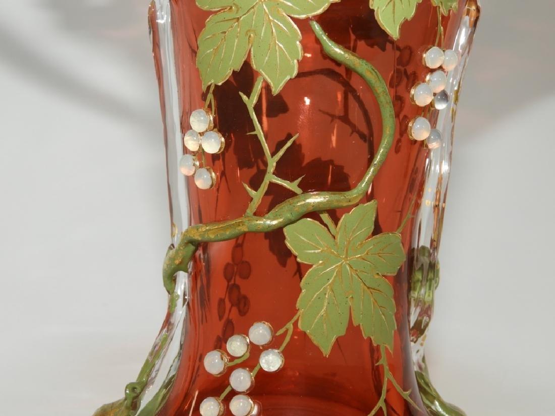 Moser Gilt Enameled & Jeweled Cranberry Glass Vase - 3