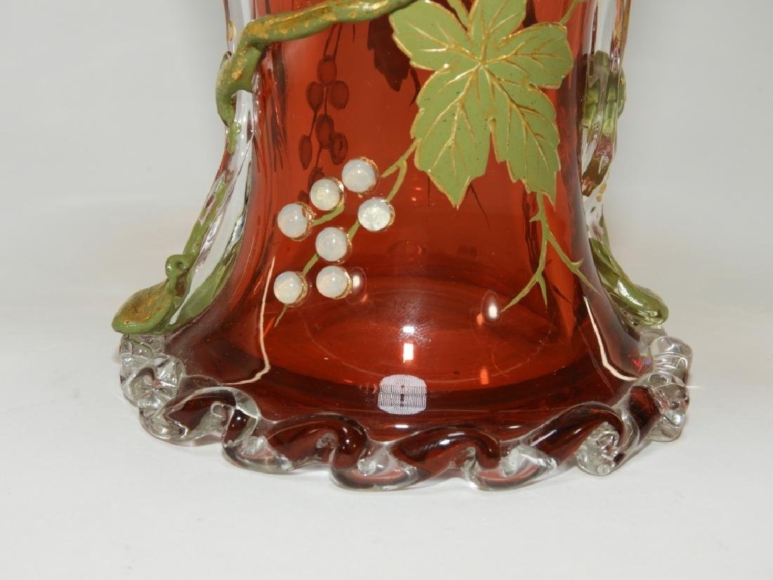 Moser Gilt Enameled & Jeweled Cranberry Glass Vase - 4