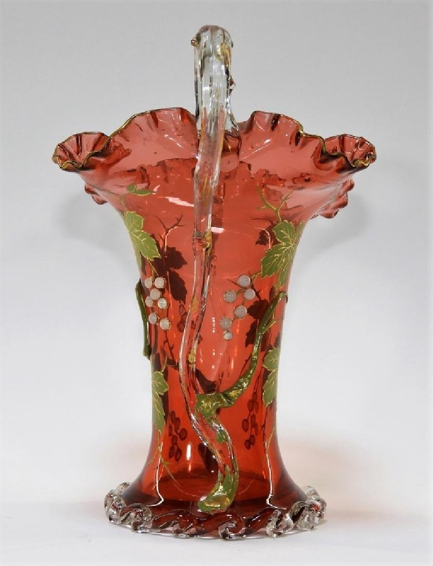 Moser Gilt Enameled & Jeweled Cranberry Glass Vase - 5