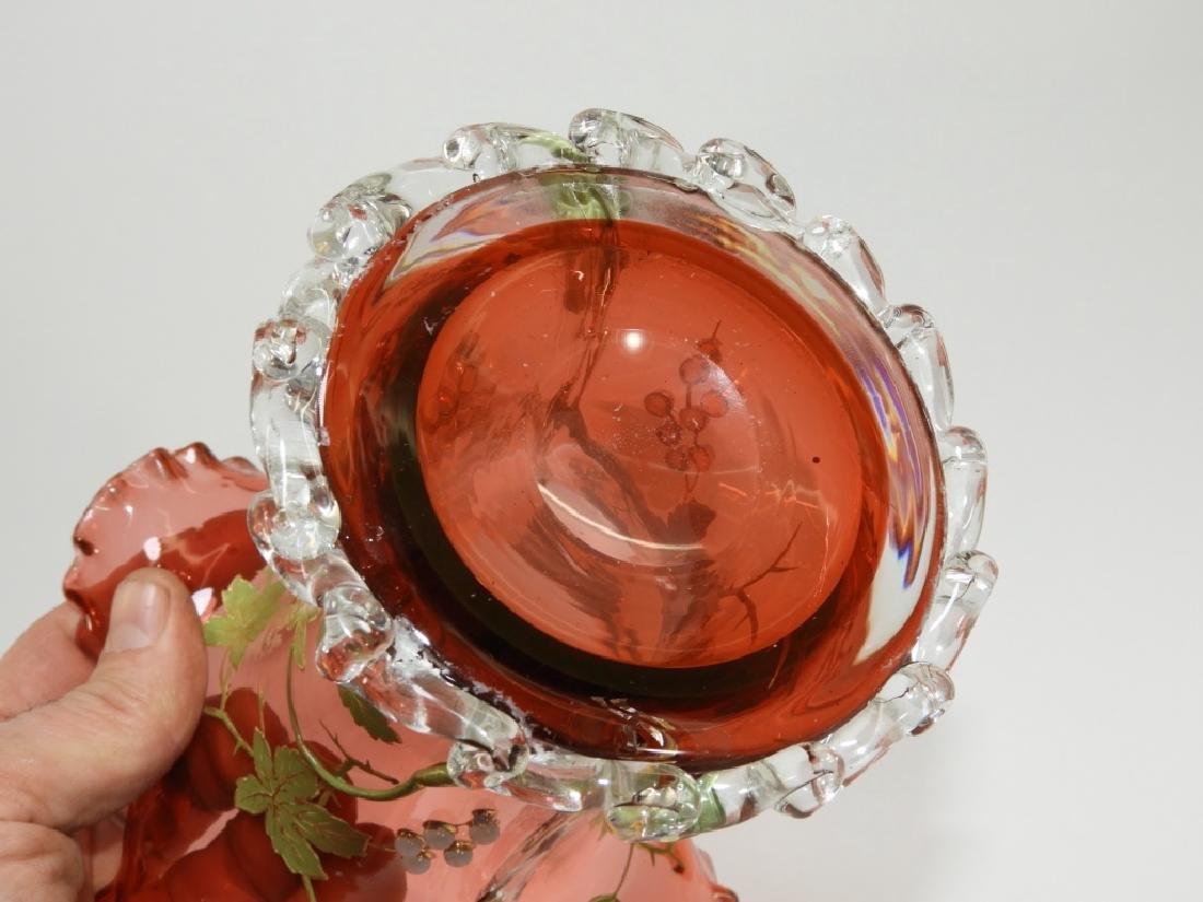 Moser Gilt Enameled & Jeweled Cranberry Glass Vase - 8