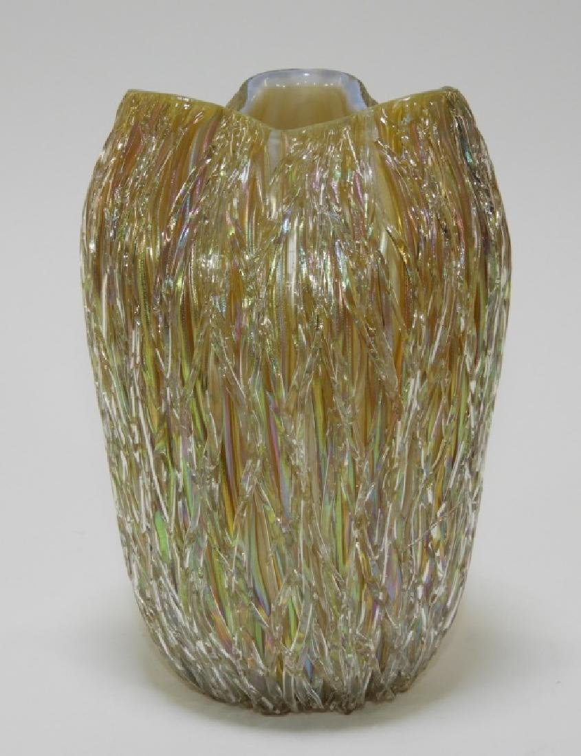 Austrian Iridescent Layered Thread Art Glass Vase