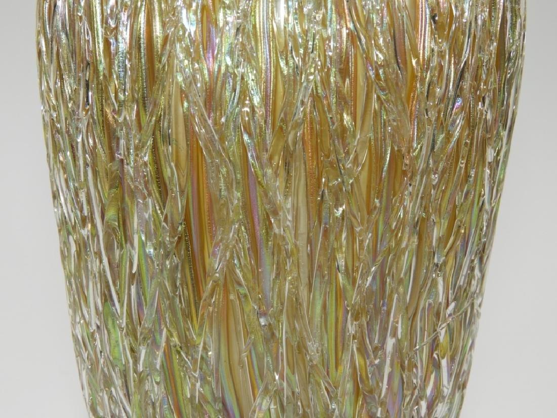 Austrian Iridescent Layered Thread Art Glass Vase - 3