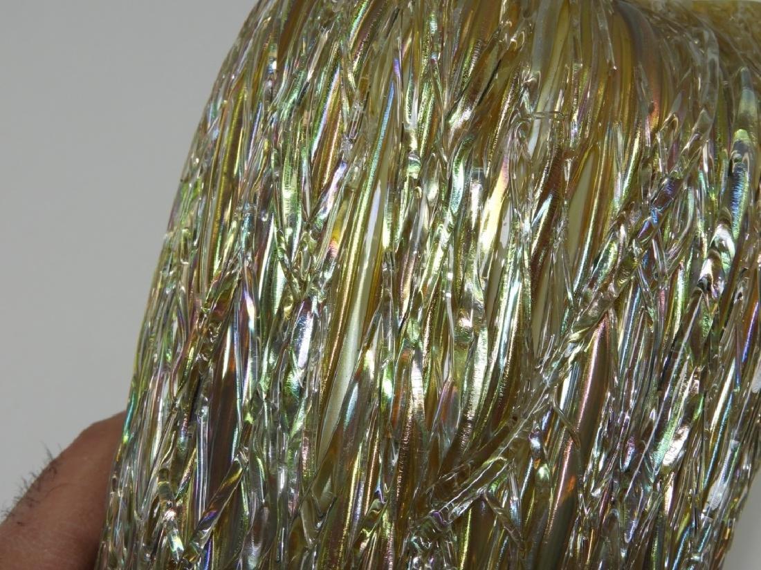 Austrian Iridescent Layered Thread Art Glass Vase - 7