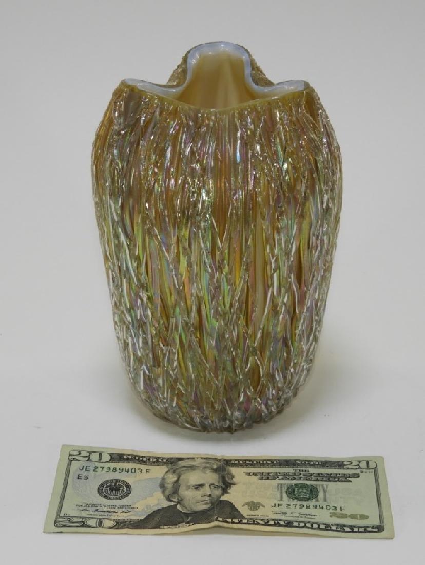 Austrian Iridescent Layered Thread Art Glass Vase - 8
